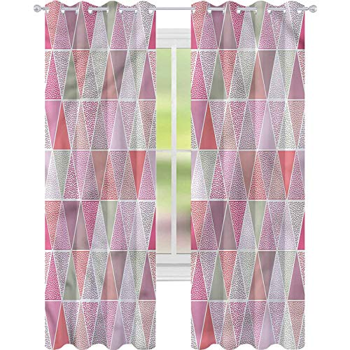 YUAZHOQI Curtains for Living Room Peach Colorful Triangles Dots Drapes for Living Room 52' x 63'(2 Panels)