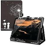 kwmobile Huawei MediaPad T3 10 Hülle - Tablet Cover Case Schutzhülle für Huawei MediaPad T3 10 mit Ständer - Pusteblume Love Design Weiß Schwarz