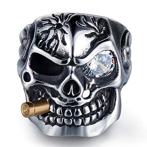 Vintage Pour Homme Punk Acier Inoxydable Grande Poli Skull Ring Biker Band Taille 8-13