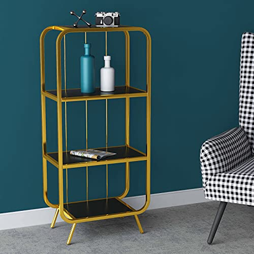 Saygoer Modern Bookcase Affordable Luxury Bookshelf Etagere Heavy Duty Small Storage Shelves Display Organizer Standing Shelving Unit Wood Steel Rack for Home Office Gold Black 17.3 x 13.4 x 47.2 in