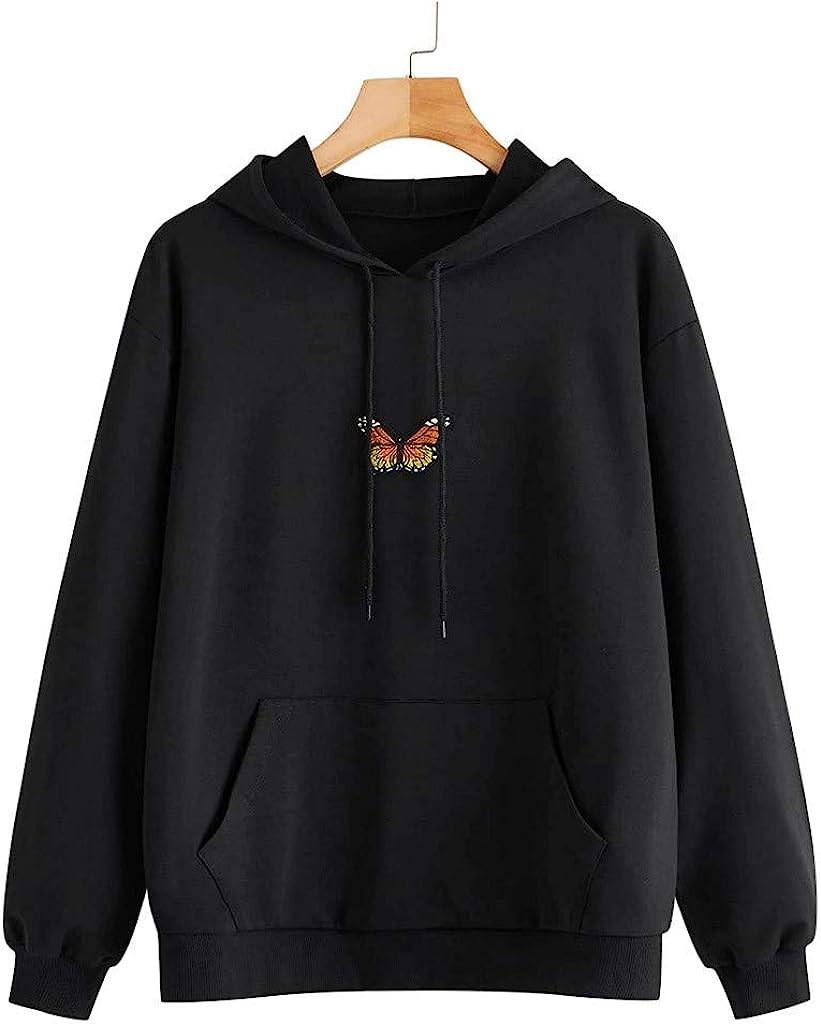 Hoodies for Women Pullover Cute, Women's Casual Print Long Sleeve Hoodie Sweatshirt Teen Girls Butterfly Embroider Tops