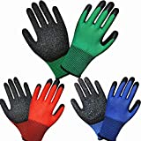 3 paia di guanti da giardinaggio colorati da donna, con presa superior, multi per costruzi...