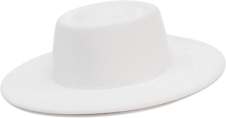 EOZY Women Multicolor Fedora Porkpie Hat,14 Colors,Felt Flat Brim Derby Hat