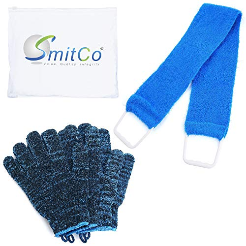 SMITCO Exfoliating Gloves (4) with 1 Back Scrubber for Shower or Bath for Men and Women to Remove Dead Skin and Ingrown Hairs - Exfoliator Loofah Mitts Are Thicker and Bigger Than Most
