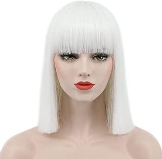 Karlery Women Straight Short Bob White Wig Flat Bangs Halloween Costume Wig Anime Cosplay Wig(White)