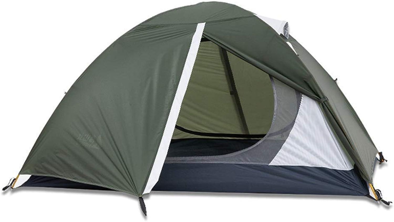 BJYG Zelt im Freien 2 Personen Camping Doppel Verdickung Anti-Sturm-Regen UV-Haus (Farbe  GRüN, Gre  Aluminiumstange)
