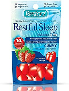 Restful Sleep Gummies with Melatonin 5mg by Restorz   Natural 5mg Melatonin Gummies Supplement to Combat Insomnia   Aids Relaxation and Healthy Sleep Cycle ● Tasty Strawberry Flavor ● 168 Gummies