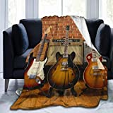 LIVE & LOVE Micro Fleece Blanket Throw Blanket Guitar Collection Print Ultra-Soft Fuzzy Light Weight Cozy Warm Fluffy Plush Blanket Microfiber for Bed Couch Chair Living Room Fall Winter Spring