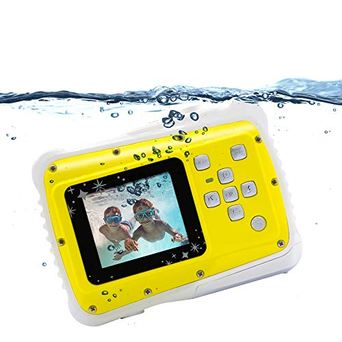 Waterproof Kids Camera Camcorder 8MP HD Kids Action Camera Underwater Camera - Birthday, Christmas, Festival Gifts for Girls Boys (Yellow)