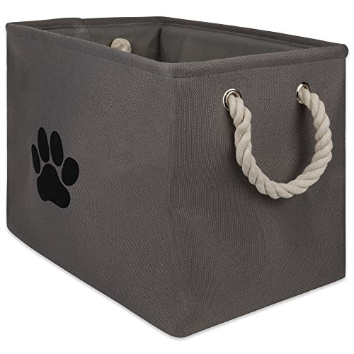 DII Bone Dry Medium Round Pet Toy and Accessory Storage Bin, Rechteck, Rectangle Small, Pfotenabdruck Grau
