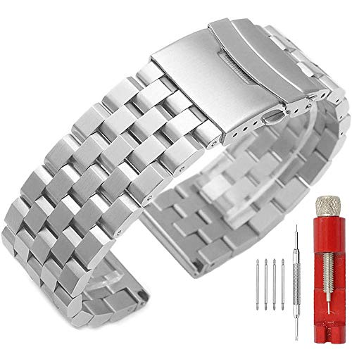 22mm Silver Watch Band Premium Quality Stainless Steel Metal Deployment Double Clasp Strap for Men Women (Quality Stainless Steel Bracelets)