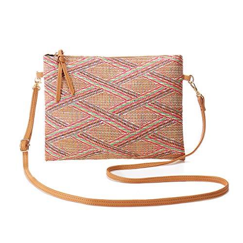 JOSEKO Bolso de playa para mujer, bolso de hombro tejido de paja para mujer, bolso de hombro, adecuado para hacer turismo