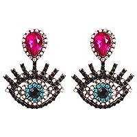 YAZILIND Big Eyes Shape Earringsファッション誇張ファニーアイラッシュドロップピアス(ローズレッド)