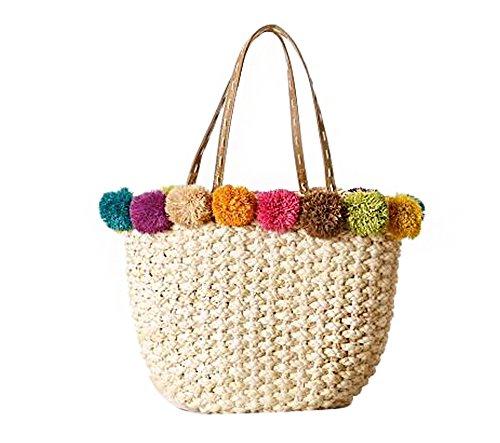 FAIRYSAN Borsa a tracolla della borsa della paglia di vacanza della spiaggia della palla di colore della donna beige