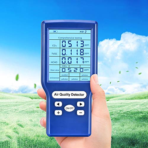 Luftqualität Messgerät,co2 messgerät,Luftqualitätsmonitor für CO2,TVOC, HCHO, AQI Messgeräte Kohlendioxid Detektor Gasanalysator Portable Air Quality Tester
