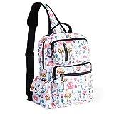 ESVAN Floral Sling Bag Shoulder Backpack Travel Rucksack Cross Body Messenger Bag Unisex