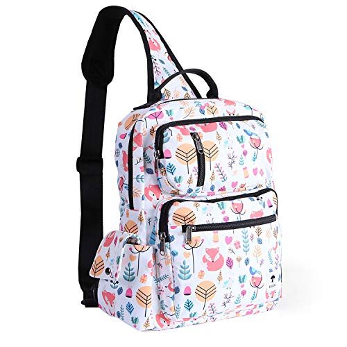 ESVAN Floral Sling Bag Shoulder Backpack Travel Rucksack Cross Body Messenger Bag Unisex
