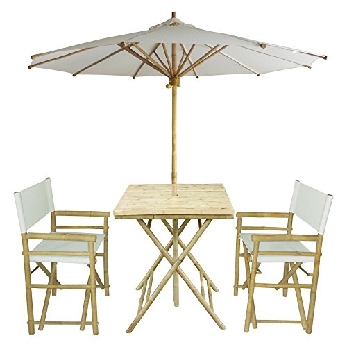 Zew 4-Piece Bamboo Outdoor Backyard Patio Set with Square Table, 2 Folding Canvas Chairs and Umbrella, White