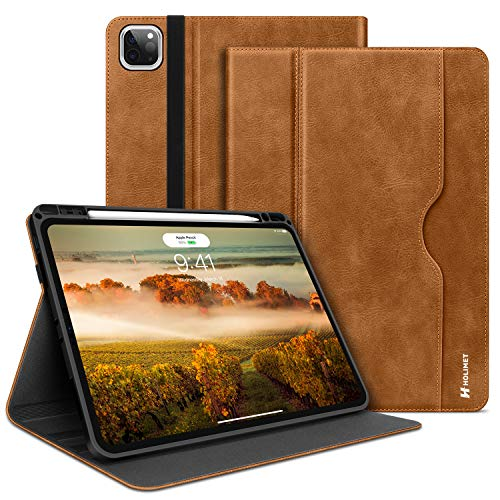 HOLIMET iPad Pro 11-inch 2nd Generation Case 2020 with Built-in Pencil Holder, PU Leather Protective Case Cover with Pocket,Strap,Soft TPU Back Shockproof for iPad pro 11 2020/2018,Brown
