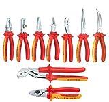 Knipex VDE - Kombizange - Abisolierzange - Seitenschneider - Flachrundzange - Storchschnabelzange - Cobra® VDE -Wasserpumpenzange - Kabelschere 9tlg