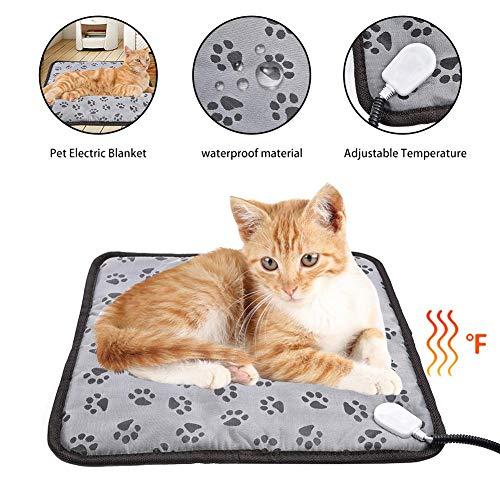 Tappetino riscaldante per animali domestici,coperta per riscaldamento elettrico per cani gatto,tappetino riscaldante impermeabile regolabile anti-morso per gatto,cane e altri piccoli animali (45×45cm)