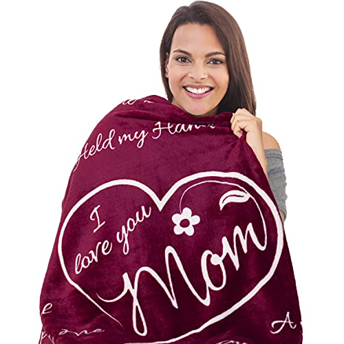 I Love You Mom Gift Blanket - Gifts for Mom - Birthday Gifts for Women...