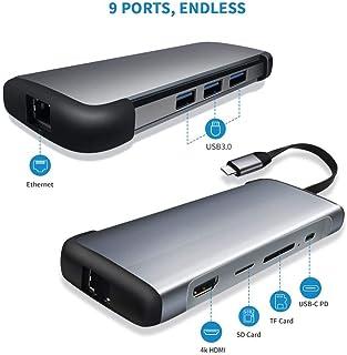 محطات قاعدة الكمبيوتر المحمول - قاعدة قاعدة قاعدة الكمبيوتر المحمول RJ45 ومحول إيثرنت ثاندربولت لمنفذ HDMI 9 في 1 USB3.0 P...