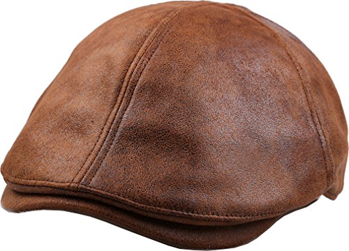 sujii iCAB Flat Cap Cabbie Hat Golfer Hunter Cap Schiebermütze Chauffeurmütze Schirmmütze Schildmmütze Golfermütze Kappe Hut/Light Brown