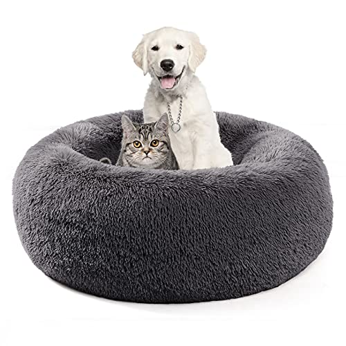 COHOME Calming Fluffy Donut Cuddler Round Dog Bed - Soft Premium Plush Small Pet Bed - Self Warming Anti-Anxiety Cat Bed ,Non-Slip Bottom - Washable - Dark Gray (23'')
