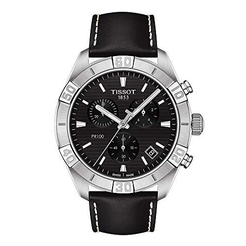 Tissot Herren-Uhren Analog Quarz One Size Schwarz Leder 32015366