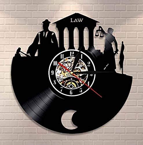 Reloj de Pared de Vinilo Abogado Verdad Arte Mural Oficina del Abogado Juez Decoración de la Corte Reloj de Pared Ley Mujer Escala Justicia Disco de Vinilo Reloj de Pared