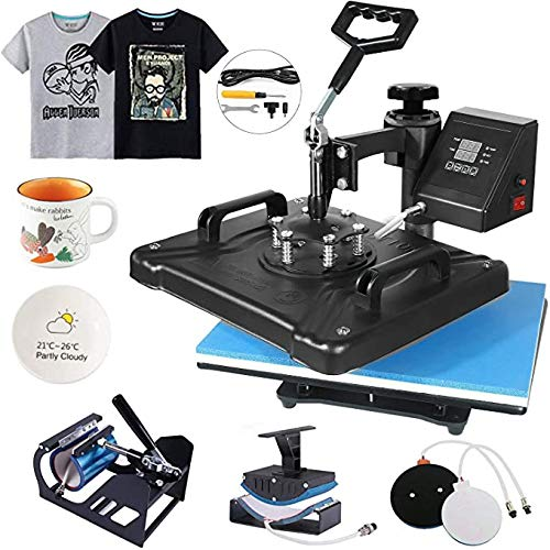 Heat Press 12×15 Heat Press Machine 5 in 1 Digital Multifunctional Sublimation Swing Away Heat Press for T Shirts Hat Mug Cap Plate,Multifunctional Swing 360-degree Rotation