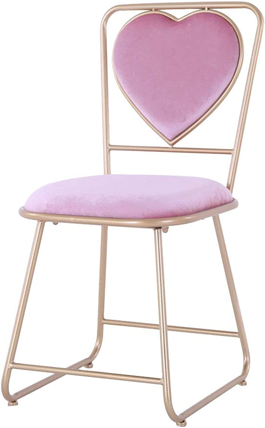Casual Dining Chair Wrought Iron Chair, High Rebound Sponge Cushion, No Armrests, Suitable for Dining Room Living Room, Pink (38 × 45 × 82cm)