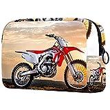 Bolsa de cosméticos para mujer, adorables bolsas de maquillaje espaciosas para viajes, bolsa de aseo de viaje, regalos para Moto Racing Sunset