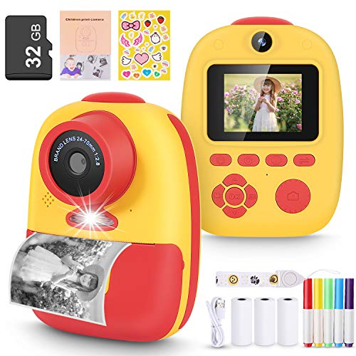 Magicfun Instant Print Camera for Kids, Zero Ink Camera with Paper Films, Cartoon Sticker and Color Pencils, 32GB Memory Card Portable Digital Camera Toys Gifts for Boys Girls(Yellow)