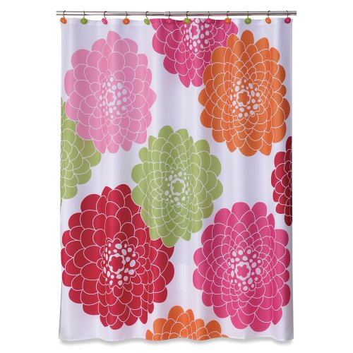 Allure Home Creations Stella Pink and red Printed on Poly Pique contemporary & stylish floral Shower Curtain