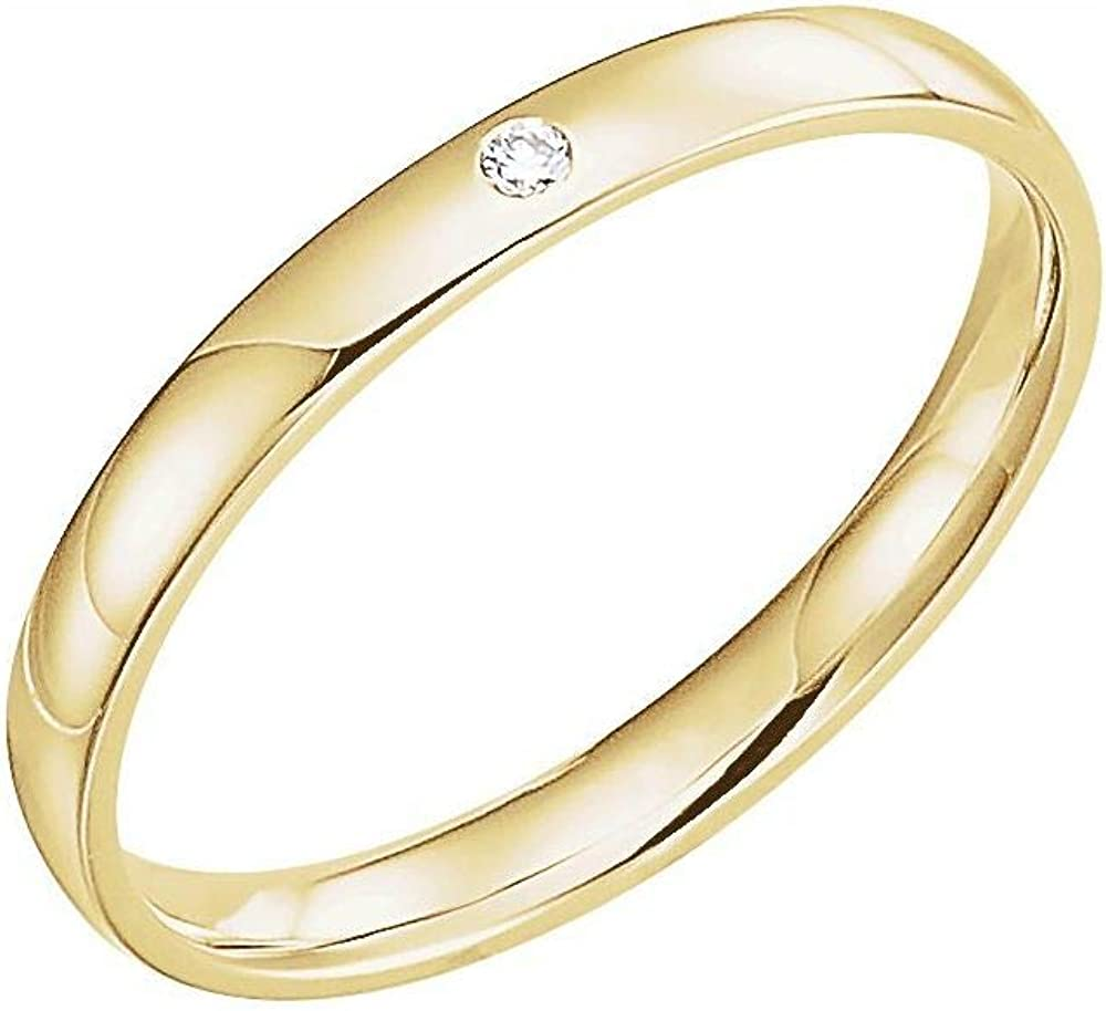 Solid 14k Yellow Gold Solitaire 5% OFF .02 CT Finally popular brand Diamond Wedding Gypsy-Set