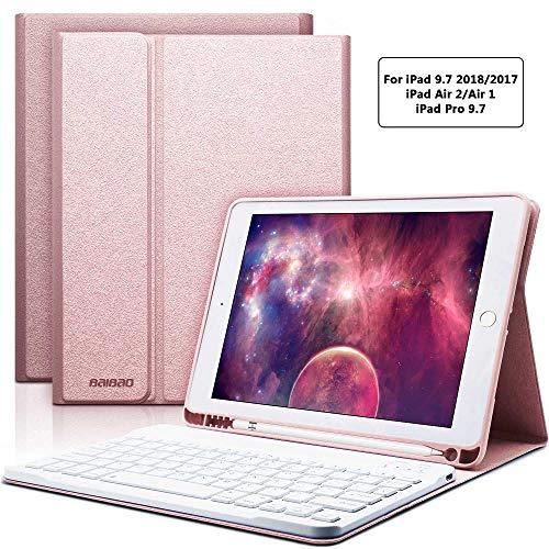iPad Keyboard Case 9.7 for iPad 6th Generation 2018 iPad 5th Gen 2017 iPad Pro 9.7 iPad Air 2 Air 1 with Pencil Holder Bluetooth Wireless Detachable Keyboard 9.7 iPad Cover with Keyboard