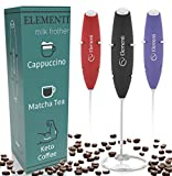 Black : Elementi Original Premier Milk Frother with Stand (Black) | More Powerful High Torque Motor - Make Cappuccinos, Lattes and Bulletproof Coffee