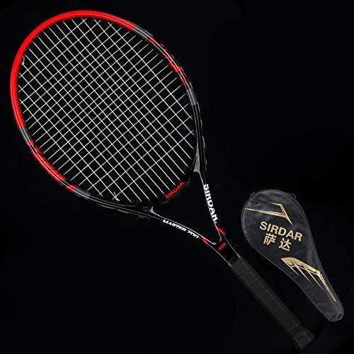VAN+ - Raqueta de tenis profesional de fibra de carbono con cuerda de nailon original para tenis con agarre de pala de pádel