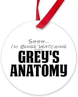 CafePress Shhh. I'm Binge Watching Grey's Anatomy Round Or Round Christmas Ornament
