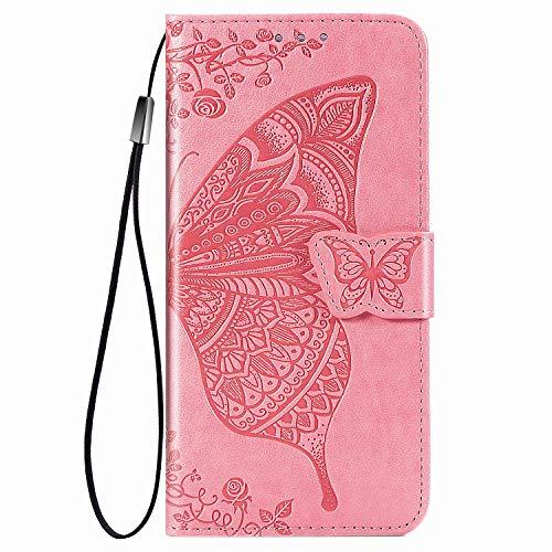 Dedux Flip Soporte Plegable Funda para OnePlus 9, Mariposa en Relieve Flor Color de Rosa y Grabados Carcasa Tipo Libro, de Ranuras para Tarjetas y con Cierre Magnético, Rosa