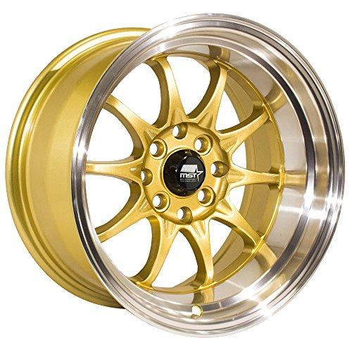 MST WHEELS MT11 Rim 15x8 4x100/4x114.3 Offset 0 Gold/Machined Lip (Qty of 1)