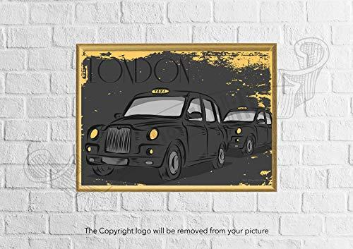 Studio Kulilk Londen Zwarte Cabine   Tekening op papier   Muurdecoratie A4 formaat papieren print   Decor kamer interieur muur illustratie