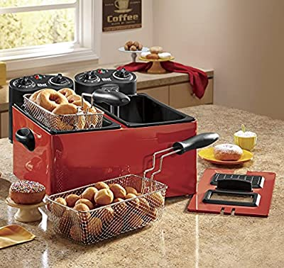 Chef Tested Double Tank Deep Fryer by Montgomery Ward, Red