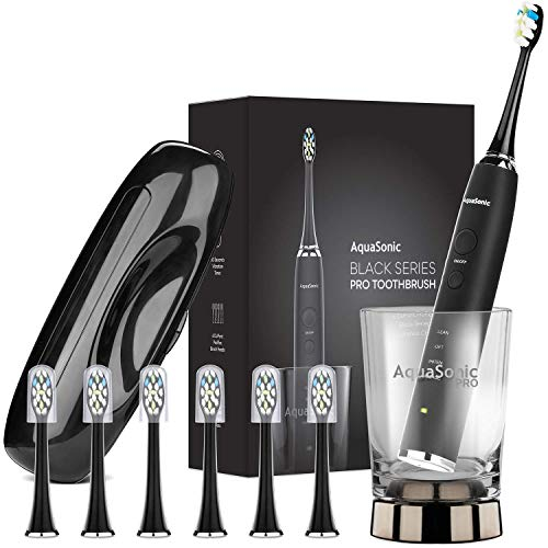 AquaSonic Black Series PRO Ultra Whitening 40,000 VPM Rechargeable Electric Toothbrush w/Revolutionary Wireless Charging Glass, 6 Adaptive ProFlex Brush Heads & Travel Case - 4 Modes w Smart Timer