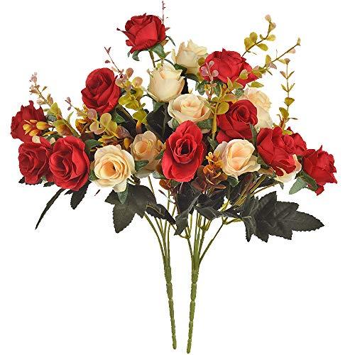 Moomass Artificial Flowers,2 Packs of Artificial Roses.24 Little Rose Silk...
