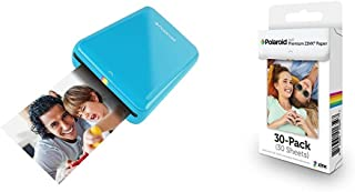 Polaroid ZIP Mobile Printer (Blue) with Polaroid ZINK Photo Paper TRIPLE PACK (30 Sheets)