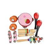 ammoon Juego de 10 instrumentos de percusión con pandereta, maracas, castañuelas de madera, guiro para niños, niños y niñas