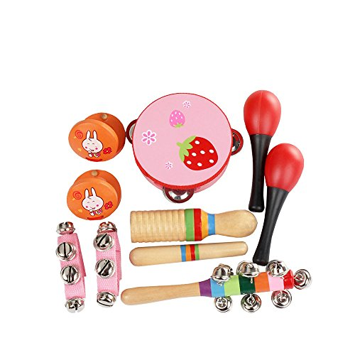 Baby Wooden Rattle Bell Toy Handbell Musical Education Percussion Instrument Yl
